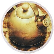 Sepia Toned Old Vintage Domed Kettle Round Beach Towel