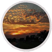 Sept Sunset Round Beach Towel by Yumi Johnson