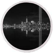 September 11th Manhattan Reflections Bw Round Beach Towel