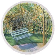 September Afternoon Round Beach Towel