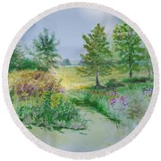 September At Kickapoo Creek Park Round Beach Towel