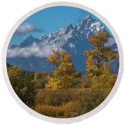 September Colors In Grand Teton National Park Round Beach Towel