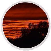 Round Beach Towel featuring the photograph September Kansas Sunset by Mark McReynolds