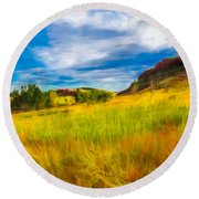 September Morn Round Beach Towel