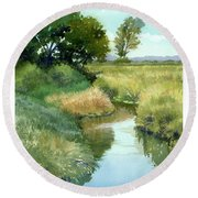 September Morning, Allen Creek Round Beach Towel