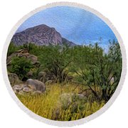 Round Beach Towel featuring the photograph September Oasis No.2 by Mark Myhaver