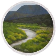 September On The Rio Chama Round Beach Towel