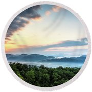 Round Beach Towel featuring the photograph September Sunrise by Douglas Stucky