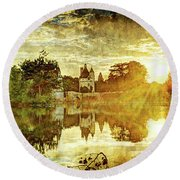 September Sunset In Chenonceau - Vintage Version Round Beach Towel