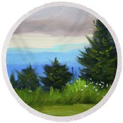 Round Beach Towel featuring the painting Sequim Vista by Nancy Merkle