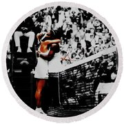 Serena Williams And Angelique Kerber Round Beach Towel by Brian Reaves