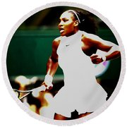 Serena Williams Making History Round Beach Towel by Brian Reaves