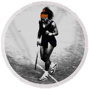 Serena Williams Match Point 3a Round Beach Towel by Brian Reaves