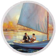 Round Beach Towel featuring the painting Serenade by Steve Henderson