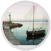 Round Beach Towel featuring the photograph Serene Awakening by Davor Zerjav