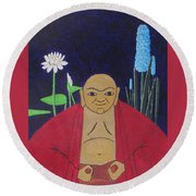 Serene Buddha Round Beach Towel by Hilda and Jose Garrancho
