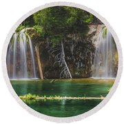 Serene Hanging Lake Waterfalls Round Beach Towel
