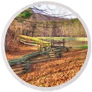 Round Beach Towel featuring the photograph Serene Lake by Gordon Elwell