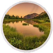 Serene Lake Round Beach Towel