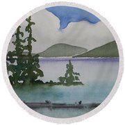 Serene Morning On Lake Superior Round Beach Towel