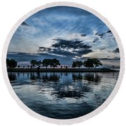 Serene Summer Water And Clouds Round Beach Towel