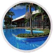 Serene Swimming Pool Round Beach Towel