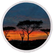 Serengeti Sunrise Round Beach Towel