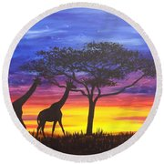 Round Beach Towel featuring the painting Serengeti Sunset by Darren Robinson