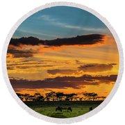 Serengeti Sunset Round Beach Towel