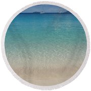 Serenity At Trunk Bay  Round Beach Towel by Margaret Bobb