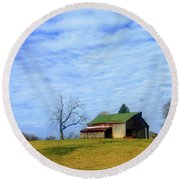 Serenity Barn And Blue Skies Round Beach Towel