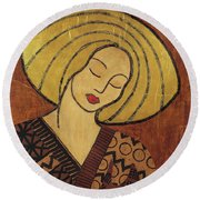 Round Beach Towel featuring the mixed media Serenity by Gloria Rothrock