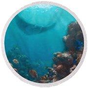 Serenity - Hawaiian Underwater Reef And Manta Ray Round Beach Towel