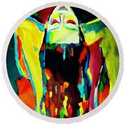 Round Beach Towel featuring the painting Serenity by Helena Wierzbicki