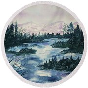Round Beach Towel featuring the painting Serenity IIi by Ellen Levinson