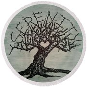 Round Beach Towel featuring the drawing Serenity Love Tree by Aaron Bombalicki