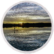 Serenity On A Paddleboard Round Beach Towel
