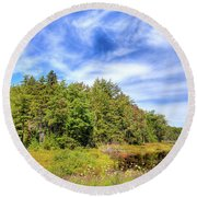 Round Beach Towel featuring the photograph Serenity On Bald Mountain Pond by David Patterson