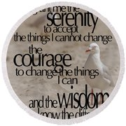 Serenity Prayer 01 Round Beach Towel by Vicki Ferrari