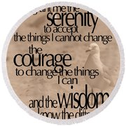 Serenity Prayer 04 Round Beach Towel by Vicki Ferrari