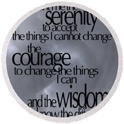 Serenity Prayer 05 Round Beach Towel by Vicki Ferrari