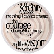 Serenity Prayer 06 Round Beach Towel by Vicki Ferrari