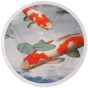Serenity - Red And White Koi Round Beach Towel by Gill Billington