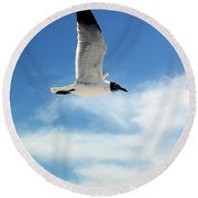 Round Beach Towel featuring the photograph Serenity Seagull by Marie Hicks