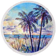 Serenity Under The Palms Round Beach Towel by Lou Ann Bagnall
