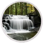 Round Beach Towel featuring the photograph Serenity Waterfalls Landscape by Christina Rollo