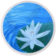 Serenity White Water Lily Round Beach Towel