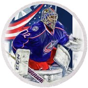 Sergei Bobrovsky Columbus Blue Jackets Round Beach Towel