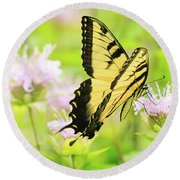 Series Of Yellow Swallowtail #4 Of 6 Round Beach Towel