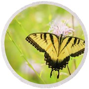 Series Of Yellow Swallowtail #6 Of 6 Round Beach Towel